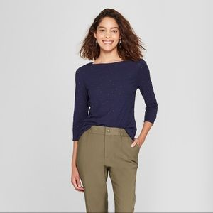 Tops - Women's 3/4 Sleeve Vintage Shine Boatneck T- Shirt